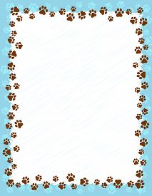 pic of painted toes  - Dog paw prints border  - JPG