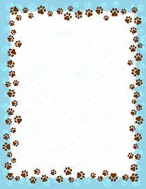 stock photo of dog tracks  - Dog paw prints border  - JPG