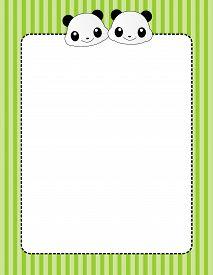 stock photo of panda  - Cute giant pandas page border  - JPG