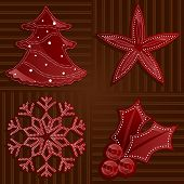 foto of stippling  - holiday shapes in shades of shiny red on a rich brown backdrop decorated with dotted patterns in white  - JPG