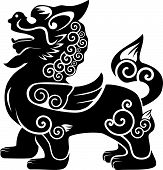 picture of chinese unicorn  - chinese kylin vector silhouette on white background - JPG
