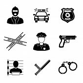 Set of monochrome police icons - gun, car, crime scene tape, badge, policemen, thief, thief in jail, poster