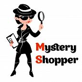 Постер, плакат: Black and white mystery shopper woman in spy coat