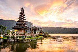 picture of hindu  - Pura Ulun Danu Bratan Hindu temple on Bratan lake Bali Indonesia - JPG