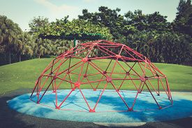 picture of playground school  - The playground for climb on rubber foam in school Old retro tone - JPG