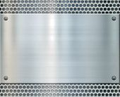 shiny metal plate on holed aluminium background