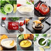 Collage of different natural sauces poster