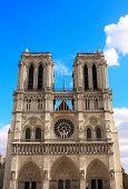 Facade of famous Cathedral of Notre Dame de Paris, Paris, France poster