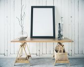 Wooden Table With Blank Frame poster