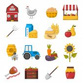 Vector Cartoon Farm Market Icons poster
