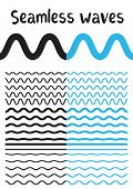Collection Of Different Wave Isolated On White Background. Vector Big Set Of Seamless Wavy - Curvy A poster