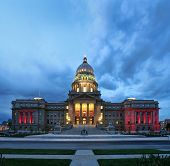 a night image of the capital building in boise