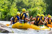 Rafting team , summer extreme water sport poster