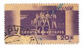 USSR - CIRCA 1960: A postage stamp printed in the USSR devoted to exploit the 26 Baku Commissars, ci
