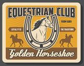 Hippodrome Riding And Horse Racing Sport Vintage Poster. Vector Equine Races Training And Jockey Pol poster