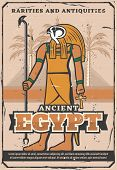 Ancient Egypt Treasure, Rarity Souvenirs And Antiquities Shop Vintage Poster. Vector Egypt Landmarks poster