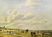 Постер, плакат: Adriaen van de Velde Beach at Scheveningen Reproduction from illustrated Encyclopedia