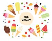 Set Of Ice Cream With Fruits And Berries. Different Ice Cream For Your Design. poster