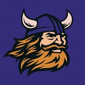 Viking Head Vector Image. Head Of Bearded Viking Warrior With Horned Helmet. poster