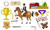 Set Of Horseback Riding. Racing Icons For Activity Jockey Club. Set Of Equipments For Equestrian Spo poster