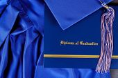 Graduation Hat And Diploma Certificate Front View Graduate College Concept poster