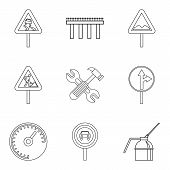Rugged Terrain Icons Set. Outline Set Of 9 Rugged Terrain Icons For Web Isolated On White Background poster