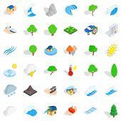 Sinking House Icons Set. Isometric Style Of 36 Sinking House Icons For Web Isolated On White Backgro poster