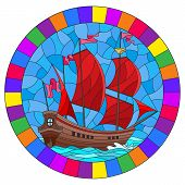 Illustration In Stained Glass Style With An Old Ship Sailing With Red Sails Against The Seaand Sky,  poster