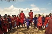 OLDUVAI GORGE, TANZANIA, DECEMBER 23, 2011, MAASAI MEN PERFORM THE TRADITIONAL JUMPING DANCE