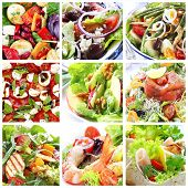 Collage of healthy salads.  Includes caprese, Greek, Waldorf, shrimp, smoked salmon, Nicoise, chicke