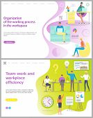 Organization Of Working Process In Workplace And Teamwork Working Efficiency Vector. People In Offic poster