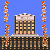 Exterior Of The Bank Building. Coins Fall From The Sky. Front View Of A Bank Building With Columns O poster