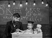 Father With Beard, Teacher Teaches Son, Little Boy. Teacher And Pupil In Mortarboard, Chalkboard On  poster