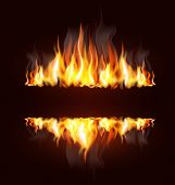 image of furnace  - vector background with a burning flame and place for text - JPG