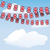 Union Jack bunting on cloud background with space for your text. EPS10 vector format
