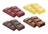 Vector Collection Of Dark Chocolate, Milk Chocolate And White Chocolate Bars Isolated On White Backg poster