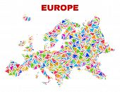 Mosaic Europe Map Of Triangles In Bright Colors Isolated On A White Background. Triangular Collage I poster