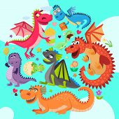 Baby Dragons Round Pattern Vector Illustration. Cartoon Funny Dragons With Wings. Fairy Dinosaurs Wi poster