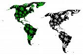 North And South America Continent - Map Is Designed Cannabis Leaf Green And Black, North And Latin A poster