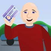 Happy Man Pass Driving Exam Concept Background. Cartoon Illustration Of Happy Man Pass Driving Exam  poster
