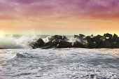 Stormy Ocean Waves Beautiful Seascape Big Powerful Tide In Action Storm Weather In A Deep Blue Sea F poster