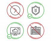 Do Or Stop. Forward, Cloud Storage And Shield Icons Simple Set. Parking Garage Sign. Next Direction, poster
