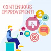 Handwriting Text Continuous Improvement. Concept Meaning Involves Small Consistent Improvements Over poster