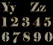 Golden Alphabet With Diamonds