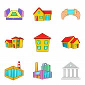 Dirty District Icons Set. Cartoon Set Of 9 Dirty District Icons For Web Isolated On White Background poster