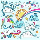 Psychedelic Groovy Clouds, Sun, and Rainbow Notebook Doodle Design Elements Set on Lined Sketchbook