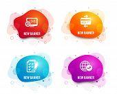 Liquid Badges. Set Of Report Statistics, Credit Card And Survey Checklist Icons. World Statistics Si poster