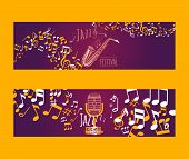 Musical Instruments Set Of Banners Vector Illustration. Music Concept With Saxophone, Microphone, No poster
