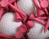picture of ladies golf  - Pink Golf Tees set on white Golf Balls - JPG