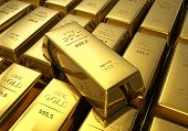 stock photo of bank vault  - Macro view of rows of gold bars - JPG